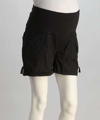 Black Fold-Over Poplin Maternity Shorts