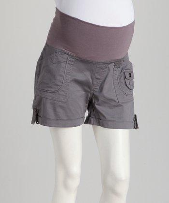 Gray Poplin Mid-Belly Maternity Shorts