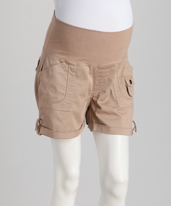 Khaki Poplin Mid-Belly Maternity Shorts - Women