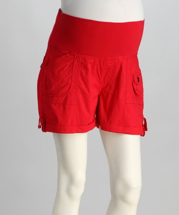Red Poplin Mid-Belly Maternity Shorts