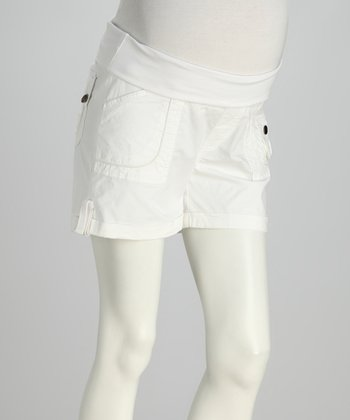 White Yoga-Belly Maternity Shorts
