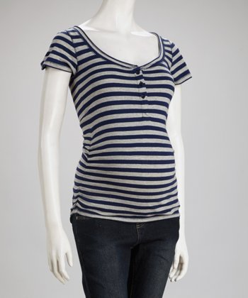 Navy Stripe Maternity Henley