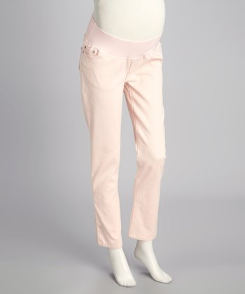 Blush Twill Under-Belly Maternity Skinny Pants