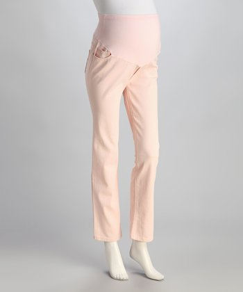 Blush Twill Over-Belly Maternity Skinny Pants