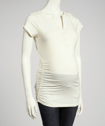 Cream Ruched Maternity Top - Women