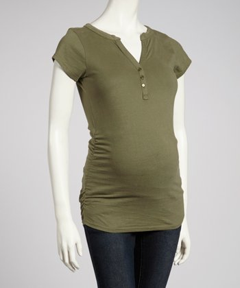 Olive Ruched Maternity Top