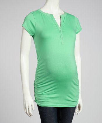 Sea Green Ruched Maternity Short-Sleeve Top - Women
