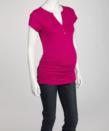 Vivacious Ruched Maternity Short-Sleeve Top