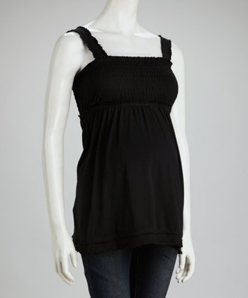 Black Shirred Maternity Top