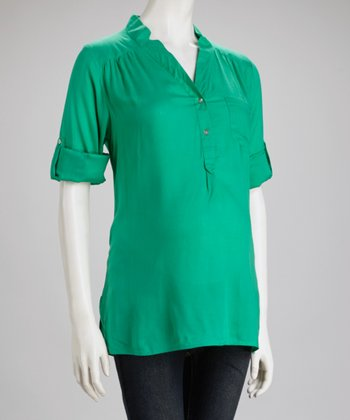 Emerald Stand-Up Collar Maternity Button-Up Top - Women