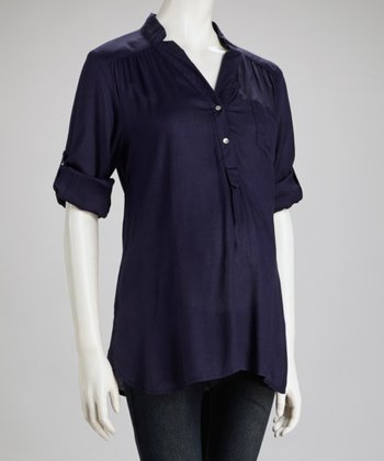 Navy Stand-Up Collar Maternity Top - Women