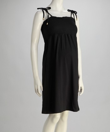 Black Shirred Maternity Dress