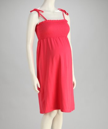 Light Coral Shirred Maternity Dress