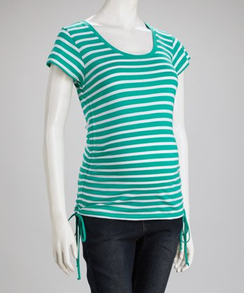 Jade & White Stripe Maternity Top