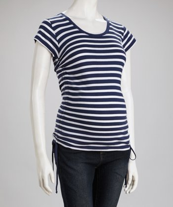 Navy & White Stripe Maternity Short-Sleeve Top