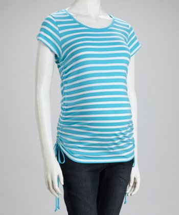 Turquoise & White Stripe Maternity Top
