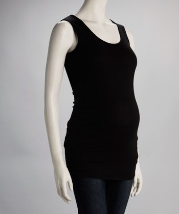 Black Ruched Maternity Tank - Women