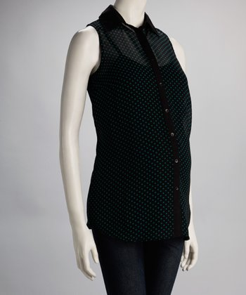 Black & Green Sheer Dot Maternity Sleeveless Top