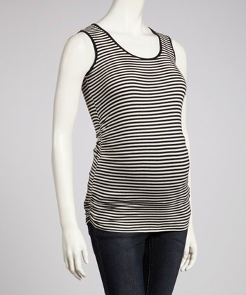 Black & Oatmeal Stripe Ruched Maternity Tank
