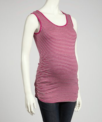Magenta & Heather Gray Stripe Ruched Maternity Tank - Women