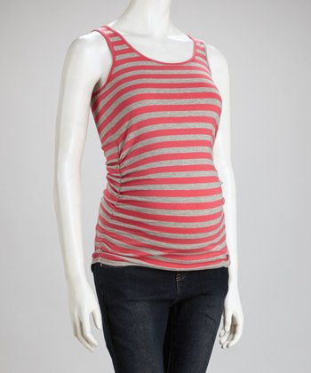 Coral & Heather Gray Stripe Ruched Maternity Tank - Women