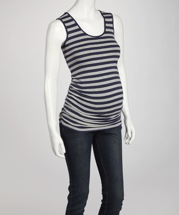 Navy & Grey Stripe Ruched Maternity Tank - Women