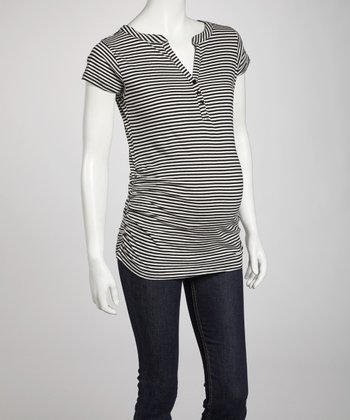 Black & Oatmeal Stripe Maternity Short-Sleeve Top