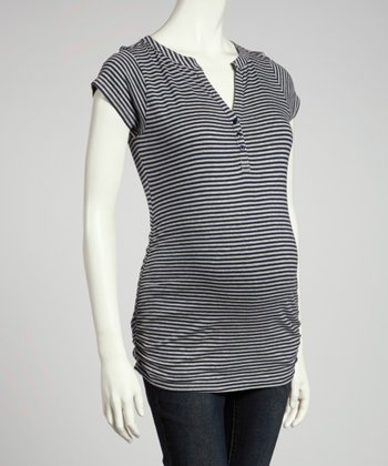 Navy & Heather Gray Stripe Ruched Maternity Top