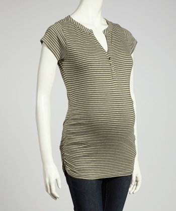 Olive & Heather Gray Stripe Maternity Short-Sleeve Henley - Women