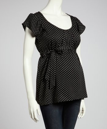 Black & Ivory Polka Dot Tie-Waist Maternity Top