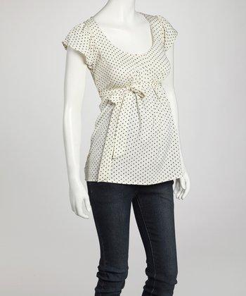 Oh! Mamma Ivory & Black Polka Dot Maternity Short-Sleeve Top