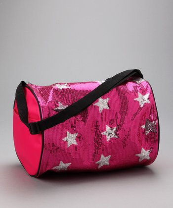 Hot Pink Sequin Star Duffel Bag