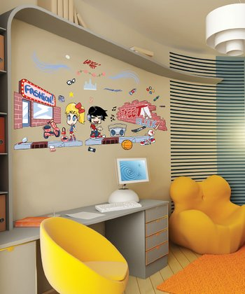 Manga Street Art Wall Decal Set