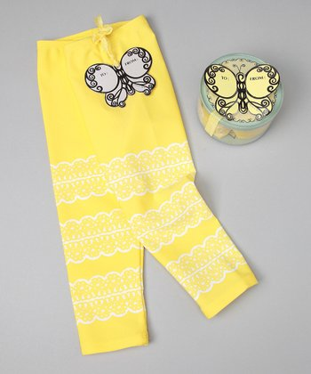 Yellow Zippity Doo Da Leggings - Girls