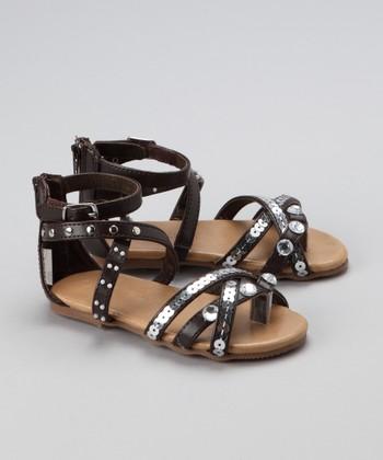 Brown Sequin Jewel Sandal