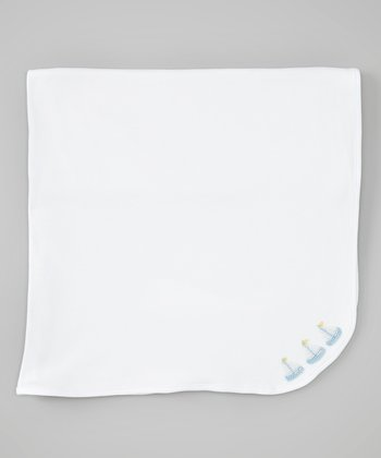 White & Light Blue Sailboat Receiving Blanket