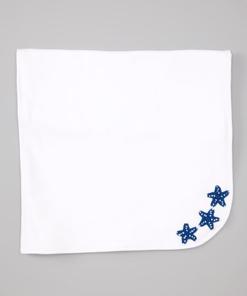 White & Navy Starfish Receiving Blanket