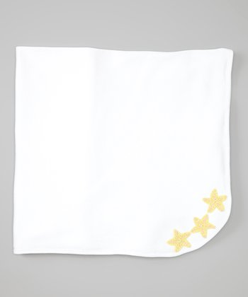 White & Yellow Starfish Receiving Blanket