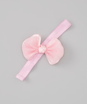 Pink Satin Ribbon Bow Headband