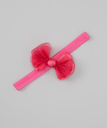 Raspberry Satin Ribbon Bow Headband