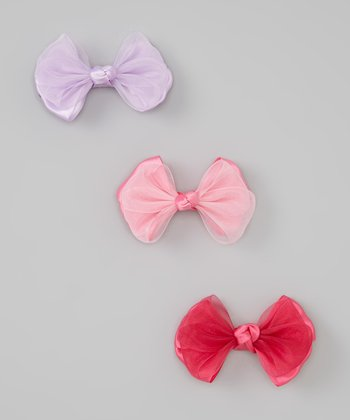 Pink, Fuchsia & Lavender Satin Ribbon Bow Set
