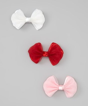 Red, Pink & White Satin Ribbon Bow Set