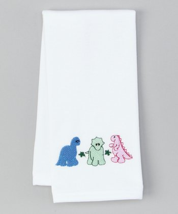 White Dinosaurs Burp Cloth