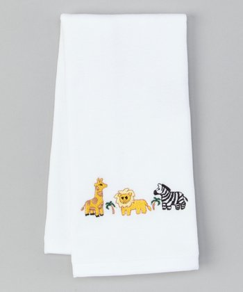 White Wild Animals Burp Cloth