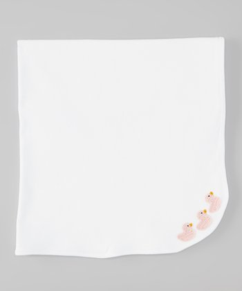 White & Light Pink Duck Stroller Blanket