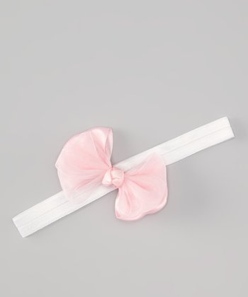 White & Light Pink Bow Headband