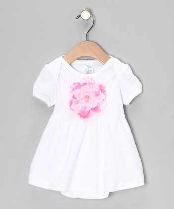 White & Pink Flower Skirted Bodysuit - Infant