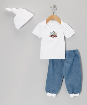 White & Denim Blue Cement Mixer Lap Neck Tee Set
