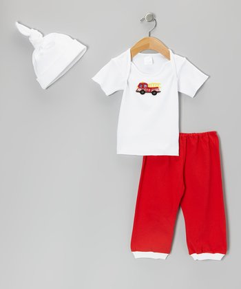 White & Red Fire Truck Lap Neck Tee Set