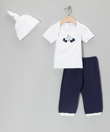 White & Navy Police Car Lap Neck Tee Set